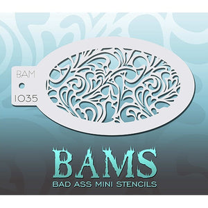 Bad Ass Mini Stencils - Swirly Hearts - BAM1035