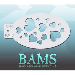 Bad Ass Mini Stencils - Hearts - BAM1042