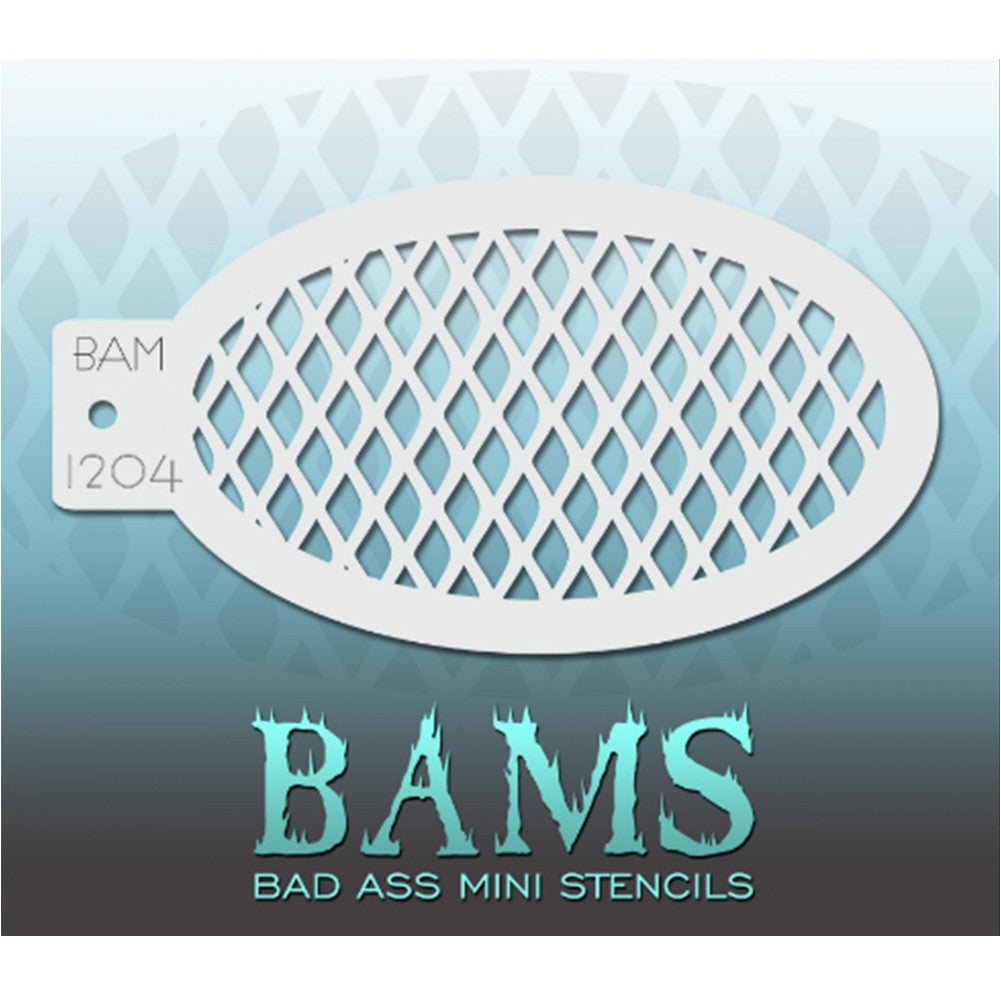 "Bad Ass Mini Stencils are oval shaped, with a hole in the end for easy storage on a chain. Chain not included. Each stencil measures 5"" x 3.5"" (outer dimension).<br><br>Stencil Style - BAM 1204 - Fishnet<br><br>The Bad Ass line of stencils, launched by famous body paint artist - Andrea O'Donnell, are high quality, flexible, fun stencils that take body painting to the next level. These high grade mylar stencils are thin and work great for adding details to your designs. Bad Ass Stencils can be used anywhere"