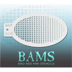 "Bad Ass Mini Stencils are oval shaped, with a hole in the end for easy storage on a chain. Chain not included. Each stencil measures 5"" x 3.5"" (outer dimension).<br><br>Stencil Style - BAM 1206 - Gradient<br><br>The Bad Ass line of stencils, launched by famous body paint artist - Andrea O'Donnell, are high quality, flexible, fun stencils that take body painting to the next level. These high grade mylar stencils are thin and work great for adding details to your designs. Bad Ass Stencils can be used anywhere"