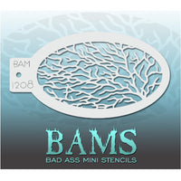 "Bad Ass Mini Stencils are oval shaped, with a hole in the end for easy storage on a chain. Chain not included. Each stencil measures 5"" x 3.5"" (outer dimension).<br><br>Stencil Style - BAM 1208<br><br>The Bad Ass line of stencils, launched by famous body paint artist - Andrea O'Donnell, are high quality, flexible, fun stencils that take body painting to the next level. These high grade mylar stencils are thin and work great for adding details to your designs. Bad Ass Stencils can be used anywhere on the bod"