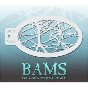"Bad Ass Mini Stencils are oval shaped, with a hole in the end for easy storage on a chain. Chain not included. Each stencil measures 5"" x 3.5"" (outer dimension).<br><br>Stencil Style - BAM 1210 - Cracked Ice<br><br>The Bad Ass line of stencils, launched by famous body paint artist - Andrea O'Donnell, are high quality, flexible, fun stencils that take body painting to the next level. These high grade mylar stencils are thin and work great for adding details to your designs. Bad Ass Stencils can be used anywh"