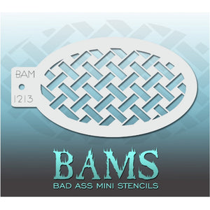 "Bad Ass Mini Stencils are oval shaped, with a hole in the end for easy storage on a chain. Chain not included. Each stencil measures 5"" x 3.5"" (outer dimension).<br><br>Stencil Style - BAM 1213 - Basket Weave<br><br>The Bad Ass line of stencils, launched by famous body paint artist - Andrea O'Donnell, are high quality, flexible, fun stencils that take body painting to the next level. These high grade mylar stencils are thin and work great for adding details to your designs. Bad Ass Stencils can be used anyw"