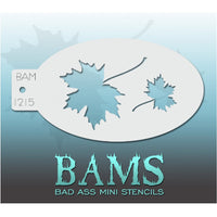 "Bad Ass Mini Stencils are oval shaped, with a hole in the end for easy storage on a chain. Chain not included. Each stencil measures 5"" x 3.5"" (outer dimension).<br><br>Stencil Style - BAM 1215 - Maple Leaves<br><br>The Bad Ass line of stencils, launched by famous body paint artist - Andrea O'Donnell, are high quality, flexible, fun stencils that take body painting to the next level. These high grade mylar stencils are thin and work great for adding details to your designs. Bad Ass Stencils can be used anyw"
