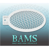 "Bad Ass Mini Stencils are oval shaped, with a hole in the end for easy storage on a chain. Chain not included. Each stencil measures 5"" x 3.5"" (outer dimension).<br><br>Stencil Style - BAM 1216 - Hexagons<br><br>The Bad Ass line of stencils, launched by famous body paint artist - Andrea O'Donnell, are high quality, flexible, fun stencils that take body painting to the next level. These high grade mylar stencils are thin and work great for adding details to your designs. Bad Ass Stencils can be used anywhere"