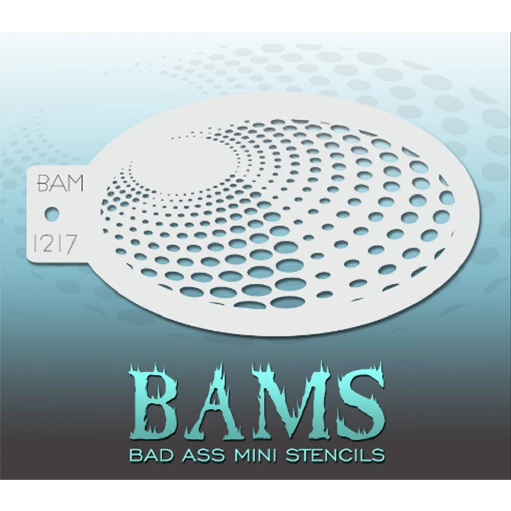"Bad Ass Mini Stencils are oval shaped, with a hole in the end for easy storage on a chain. Chain not included. Each stencil measures 5"" x 3.5"" (outer dimension).<br><br>Stencil Style - BAM 1217<br><br>The Bad Ass line of stencils, launched by famous body paint artist - Andrea O'Donnell, are high quality, flexible, fun stencils that take body painting to the next level. These high grade mylar stencils are thin and work great for adding details to your designs. Bad Ass Stencils can be used anywhere on the bod"