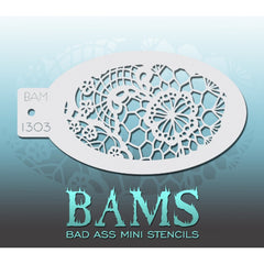 "Bad Ass Mini Stencils are oval shaped, with a hole in the end for easy storage on a chain. Chain not included. Each stencil measures 5"" x 3.5"" (outer dimension).<br><br>Stencil Style - BAM 1303 - Floral Lace<br><br>The Bad Ass line of stencils, launched by famous body paint artist - Andrea O'Donnell, are high quality, flexible, fun stencils that take body painting to the next level. These high grade mylar stencils are thin and work great for adding details to your designs. Bad Ass Stencils can be used anywh"