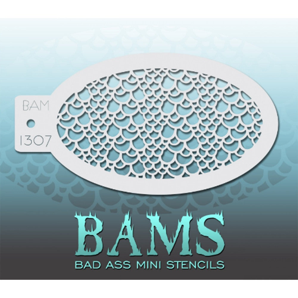 "Bad Ass Mini Stencils are oval shaped, with a hole in the end for easy storage on a chain. Chain not included. Each stencil measures 5"" x 3.5"" (outer dimension).<br><br>Stencil Style - BAM 1307<br><br>The Bad Ass line of stencils, launched by famous body paint artist - Andrea O'Donnell, are high quality, flexible, fun stencils that take body painting to the next level. These high grade mylar stencils are thin and work great for adding details to your designs. Bad Ass Stencils can be used anywhere on the bod"