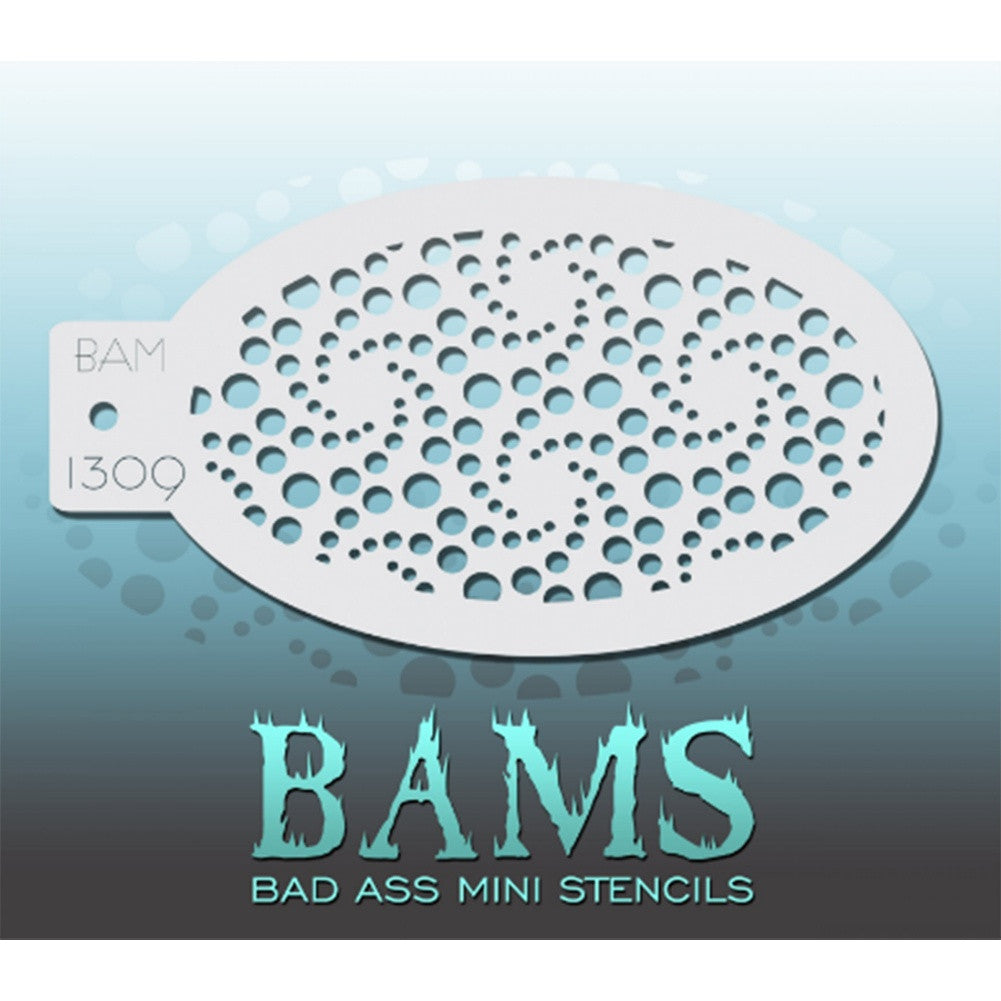 "Bad Ass Mini Stencils are oval shaped, with a hole in the end for easy storage on a chain. Chain not included. Each stencil measures 5"" x 3.5"" (outer dimension).<br><br>Stencil Style - BAM 1309<br><br>The Bad Ass line of stencils, launched by famous body paint artist - Andrea O'Donnell, are high quality, flexible, fun stencils that take body painting to the next level. These high grade mylar stencils are thin and work great for adding details to your designs. Bad Ass Stencils can be used anywhere on the bod"