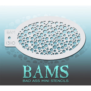 "Bad Ass Mini Stencils are oval shaped, with a hole in the end for easy storage on a chain. Chain not included. Each stencil measures 5"" x 3.5"" (outer dimension).<br><br>Stencil Style - BAM 1310 - Bubbles<br><br>The Bad Ass line of stencils, launched by famous body paint artist - Andrea O'Donnell, are high quality, flexible, fun stencils that take body painting to the next level. These high grade mylar stencils are thin and work great for adding details to your designs. Bad Ass Stencils can be used anywhere"