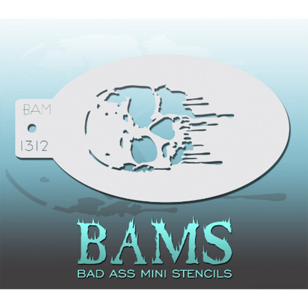 "Bad Ass Mini Stencils are oval shaped, with a hole in the end for easy storage on a chain. Chain not included. Each stencil measures 5"" x 3.5"" (outer dimension).<br><br>Stencil Style - BAM 1312<br><br>The Bad Ass line of stencils, launched by famous body paint artist - Andrea O'Donnell, are high quality, flexible, fun stencils that take body painting to the next level. These high grade mylar stencils are thin and work great for adding details to your designs. Bad Ass Stencils can be used anywhere on the bod"