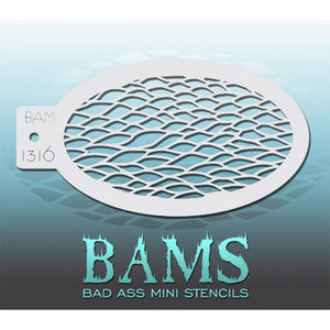 "Bad Ass Mini Stencils are oval shaped, with a hole in the end for easy storage on a chain. Chain not included. Each stencil measures 5"" x 3.5"" (outer dimension).<br><br>Stencil Style - BAM 1316 - Scales<br><br>The Bad Ass line of stencils, launched by famous body paint artist - Andrea O'Donnell, are high quality, flexible, fun stencils that take body painting to the next level. These high grade mylar stencils are thin and work great for adding details to your designs. Bad Ass Stencils can be used anywhere o"