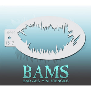 "Bad Ass Mini Stencils are oval shaped, with a hole in the end for easy storage on a chain. Chain not included. Each stencil measures 5"" x 3.5"" (outer dimension).<br><br>Stencil Style - BAM 1317<br><br>The Bad Ass line of stencils, launched by famous body paint artist - Andrea O'Donnell, are high quality, flexible, fun stencils that take body painting to the next level. These high grade mylar stencils are thin and work great for adding details to your designs. Bad Ass Stencils can be used anywhere on the bod"