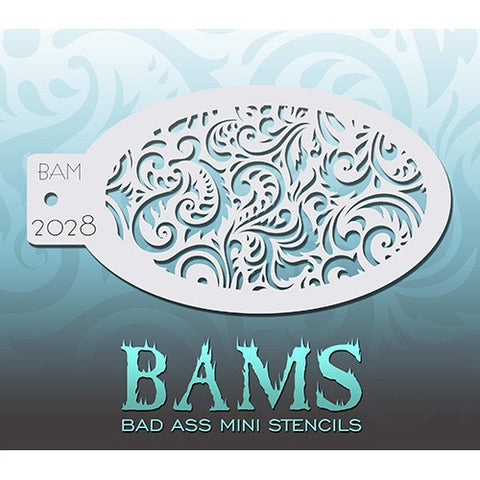 Bad Ass Mini Stencils - Swirly - BAM2028
