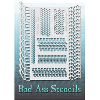 "Bad Ass Full Size Stencils - BAD6038 - Tread are about 8.5"" x 11"" in size and contain several related designs. They are perfect for a variety of body and face painting designs. Textured edges allow the artist to create multiple designs with the same sheet.<br><br>The Bad Ass line of stencils, launched by famous body paint artist - Andrea O'Donnell, are high quality, flexible, fun stencils that take body painting to the next level. These high grade mylar stencils are thin and work great for adding details to"