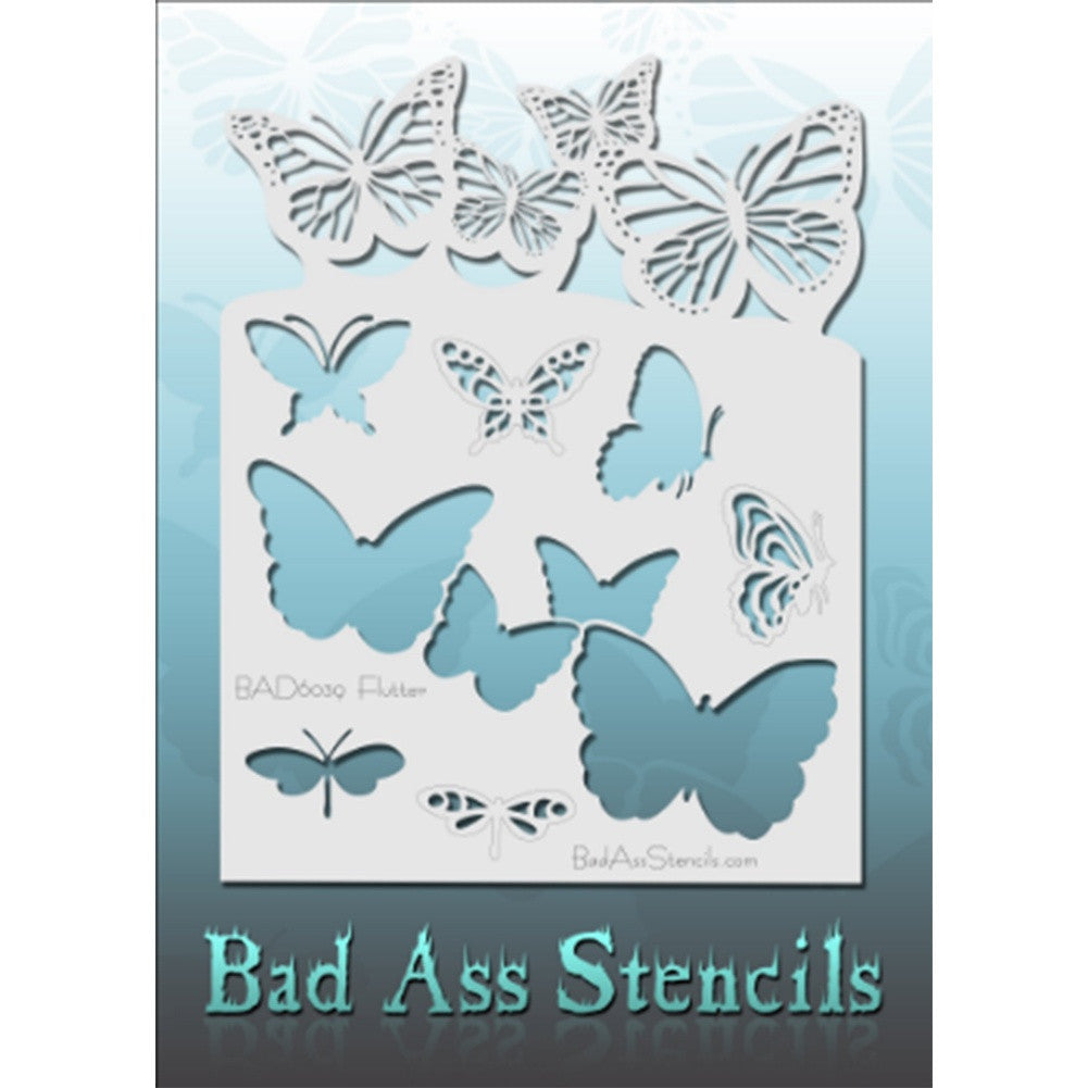 "Bad Ass Full Size Stencils - BAD6039 - Flutter are about 8.5"" x 11"" in size and contain several related designs. They are perfect for a variety of body and face painting designs. Textured edges allow the artist to create multiple designs with the same sheet.<br><br>The Bad Ass line of stencils, launched by famous body paint artist - Andrea O'Donnell, are high quality, flexible, fun stencils that take body painting to the next level. These high grade mylar stencils are thin and work great for adding details"