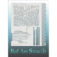 "Bad Ass Full Size Stencils - BAD6044 - Motherboard are about 8.5"" x 11"" in size and contain several related designs. They are perfect for a variety of body and face painting designs. Textured edges allow the artist to create multiple designs with the same sheet.<br><br>The Bad Ass line of stencils, launched by famous body paint artist - Andrea O'Donnell, are high quality, flexible, fun stencils that take body painting to the next level. These high grade mylar stencils are thin and work great for adding deta"