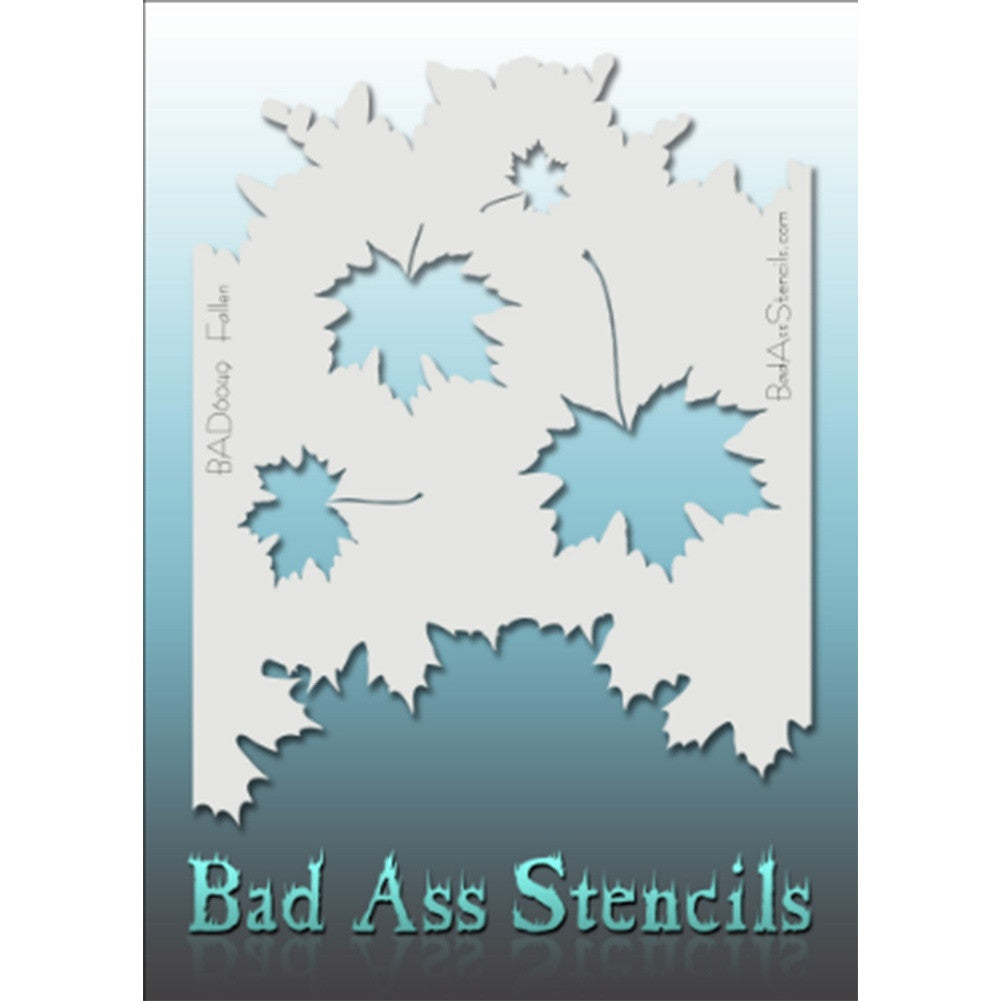 "Bad Ass Full Size Stencils - BAD6049 - Fallen are about 8.5"" x 11"" in size and contain several related designs. They are perfect for a variety of body and face painting designs. Textured edges allow the artist to create multiple designs with the same sheet.<br><br>The Bad Ass line of stencils, launched by famous body paint artist - Andrea O'Donnell, are high quality, flexible, fun stencils that take body painting to the next level. These high grade mylar stencils are thin and work great for adding details t"