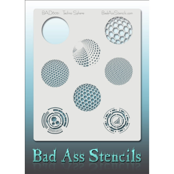Bad Ass Full Size Stencils - BAD6051 - Techno Spheres are about 8.5