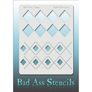 "Bad Ass Full Size Stencils - BAD6053 - Preppy are about 8.5"" x 11"" in size and contain several related designs. They are perfect for a variety of body and face painting designs. Textured edges allow the artist to create multiple designs with the same sheet.<br><br>The Bad Ass line of stencils, launched by famous body paint artist - Andrea O'Donnell, are high quality, flexible, fun stencils that take body painting to the next level. These high grade mylar stencils are thin and work great for adding details t"