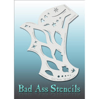 "Bad Ass Full Size Stencils - BAD6062 - Wicked Curve are about 8.5"" x 11"" in size and contain several related designs. They are perfect for a variety of body and face painting designs. Textured edges allow the artist to create multiple designs with the same sheet.<br><br>The Bad Ass line of stencils, launched by famous body paint artist - Andrea O'Donnell, are high quality, flexible, fun stencils that take body painting to the next level. These high grade mylar stencils are thin and work great for adding det"