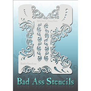 "Bad Ass Full Size Stencils - BAD6076 - Fancy Pants are about 8.5"" x 11"" in size and contain several related designs. They are perfect for a variety of body and face painting designs. Textured edges allow the artist to create multiple designs with the same sheet.<br><br>The Bad Ass line of stencils, launched by famous body paint artist - Andrea O'Donnell, are high quality, flexible, fun stencils that take body painting to the next level. These high grade mylar stencils are thin and work great for adding deta"