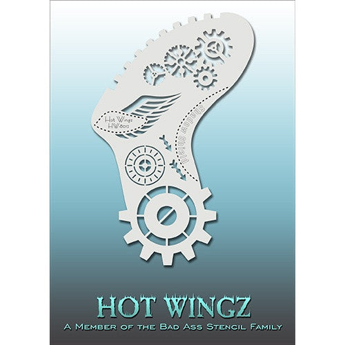 Bad Ass Hot Wingz Stencils - Steampunk Gears - HOTWING8012