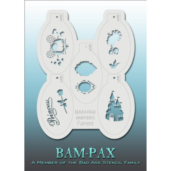 BAM PAX Stencil Sheet - BABP3001 - Fairest contains 5 related stencil designs in the princess and fairy theme. Designs in this sheet are great for parties and other events. They are perfect for creating a variety of body and face painting designs quickly and easily. Each stencil is approximately 5