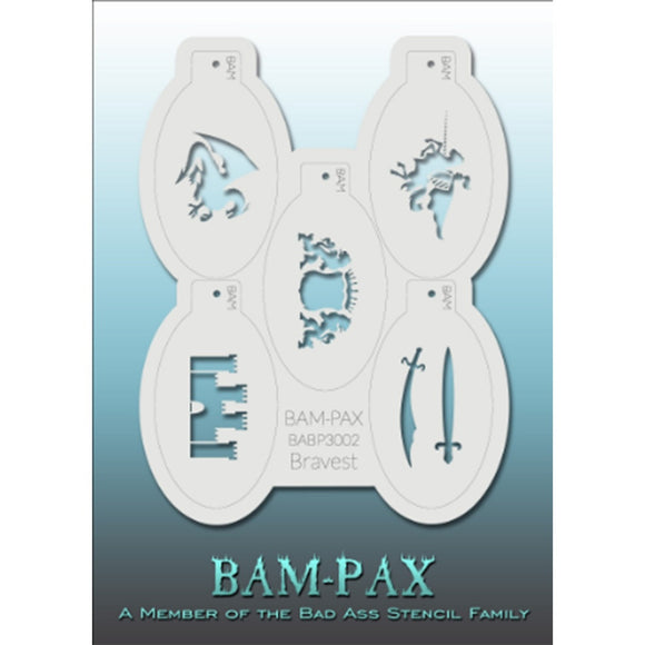 BAM PAX Stencil Sheet - BABP3002 - Bravest contains 5 related stencil designs in the knights and armor theme. Designs in this sheet are great for parties and other events. They are perfect for creating a variety of body and face painting designs quickly and easily. Each stencil is approximately 5