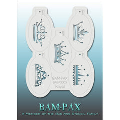 "BAM PAX Stencil Sheet - BABP3003 - Royal contains 5 related stencil designs in the royal crown theme. Designs in this sheet are great for parties and other events. They are perfect for creating a variety of body and face painting designs quickly and easily. Each stencil is approximately 5"" x 3"" in size. Each sheet comes with a metal chain. Stencils can be detached from the sheet and can be conveniently stored together using this chain.<br /><br />The Bad Ass line of stencils, launched by famous body paint a"