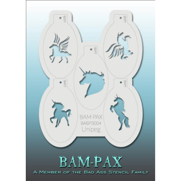 BAM PAX Stencil Sheet - BABP3004 - Unipeg contains 5 related stencil designs in the unicorn theme. Designs in this sheet are great for parties and other events. They are perfect for creating a variety of body and face painting designs quickly and easily. Each stencil is approximately 5