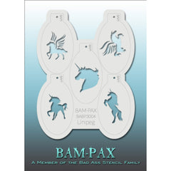 "BAM PAX Stencil Sheet - BABP3004 - Unipeg contains 5 related stencil designs in the unicorn theme. Designs in this sheet are great for parties and other events. They are perfect for creating a variety of body and face painting designs quickly and easily. Each stencil is approximately 5"" x 3"" in size. Each sheet comes with a metal chain. Stencils can be detached from the sheet and can be conveniently stored together using this chain.<br /><br />The Bad Ass line of stencils, launched by famous body paint arti"