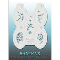 "BAM PAX Stencil Sheet - BABP3005 - Pixie contains 5 related stencil designs in the pixie and fairy theme. Designs in this sheet are great for parties and other events. They are perfect for creating a variety of body and face painting designs quickly and easily. Each stencil is approximately 5"" x 3"" in size. Each sheet comes with a metal chain. Stencils can be detached from the sheet and can be conveniently stored together using this chain.<br /><br />The Bad Ass line of stencils, launched by famous body pai"