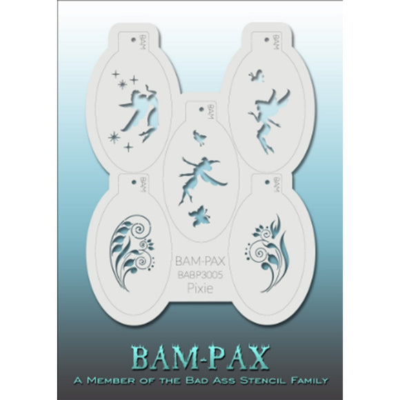 BAM PAX Stencil Sheet - BABP3005 - Pixie contains 5 related stencil designs in the pixie and fairy theme. Designs in this sheet are great for parties and other events. They are perfect for creating a variety of body and face painting designs quickly and easily. Each stencil is approximately 5