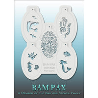 "BAM PAX Stencil Sheet - BABP3008 - Merworld contains 5 related stencil designs in the mermaid and underwater life theme. Designs in this sheet are great for parties and other events. They are perfect for creating a variety of body and face painting designs quickly and easily. Each stencil is approximately 5"" x 3"" in size. Each sheet comes with a metal chain. Stencils can be detached from the sheet and can be conveniently stored together using this chain.<br /><br />The Bad Ass line of stencils, launched by"