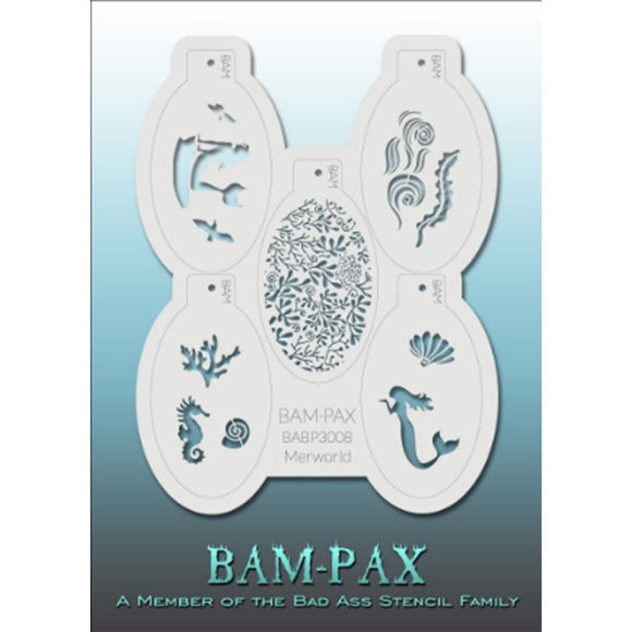 BAM PAX Stencil Sheet - BABP3008 - Merworld contains 5 related stencil designs in the mermaid and underwater life theme. Designs in this sheet are great for parties and other events. They are perfect for creating a variety of body and face painting designs quickly and easily. Each stencil is approximately 5