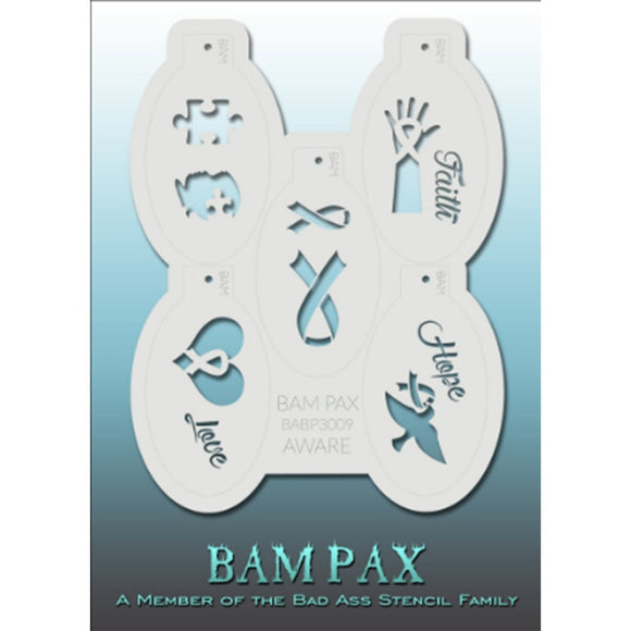 BAM PAX Stencil Sheet - BABP3009 - Aware contains 5 related stencil designs in the awareness theme for breast cancer. Designs in this sheet are great for breast cancer awareness parties and other events. They are perfect for creating a variety of body and face painting designs quickly and easily. Each stencil is approximately 5
