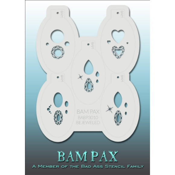 BAM PAX Stencil Sheet - BABP3010 - Bejeweled contains 5 related stencil designs in jewels theme. Designs in this sheet are great for costume parties and other events. They are perfect for creating a variety of body and face painting designs quickly and easily. Each stencil is approximately 5