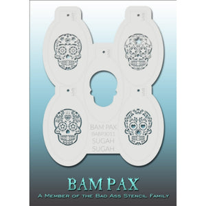 "BAM PAX Stencil Sheet - BABP3011 - Sugah Sugah contains 5 related stencil designs in Sugar Skull Theme. Designs in this sheet are great for Halloween, costume parties and other events. They are perfect for creating a variety of body and face painting designs quickly and easily. Each stencil is approximately 5"" x 3"" in size. Each sheet comes with a metal chain. Stencils can be detached from the sheet and can be conveniently stored together using this chain.<br /><br />The Bad Ass line of stencils, launched b"