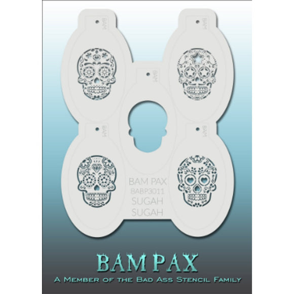BAM PAX Stencil Sheet - BABP3011 - Sugah Sugah contains 5 related stencil designs in Sugar Skull Theme. Designs in this sheet are great for Halloween, costume parties and other events. They are perfect for creating a variety of body and face painting designs quickly and easily. Each stencil is approximately 5