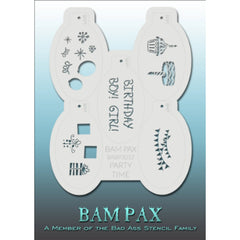 "BAM PAX Stencil Sheet - BABP3012 - Party Time contains 5 related stencil designs in the birthday party theme for boys or girls. Designs in this sheet are great for birthday parties. They are perfect for creating a variety of body and face painting designs quickly and easily. Each stencil is approximately 5"" x 3"" in size. Each sheet comes with a metal chain. Stencils can be detached from the sheet and can be conveniently stored together using this chain.<br /><br />The Bad Ass line of stencils, launched by f"