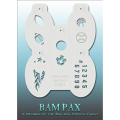 "BAM PAX Stencil Sheet - BABP3013 - Spirit contains 5 related stencil designs in the theme of ball game spirit. Designs in this sheet are great for sport events, birthday parties and other group events. They are perfect for creating a variety of body and face painting designs quickly and easily. Each stencil is approximately 5"" x 3"" in size. Each sheet comes with a metal chain. Stencils can be detached from the sheet and can be conveniently stored together using this chain.<br /><br />The Bad Ass line of ste"