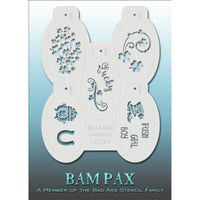 "BAM PAX Stencil Sheet - BABP3014 - Lucky contains 5 related stencil designs in the Irish Luck theme with pot of gold, clovers etc. Designs in this sheet are great for birthday parties and other events. They are perfect for creating a variety of body and face painting designs quickly and easily. Each stencil is approximately 5"" x 3"" in size. Each sheet comes with a metal chain. Stencils can be detached from the sheet and can be conveniently stored together using this chain.<br /><br />The Bad Ass line of ste"