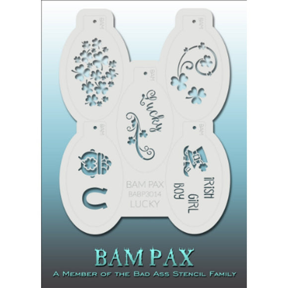 BAM PAX Stencil Sheet - BABP3014 - Lucky contains 5 related stencil designs in the Irish Luck theme with pot of gold, clovers etc. Designs in this sheet are great for birthday parties and other events. They are perfect for creating a variety of body and face painting designs quickly and easily. Each stencil is approximately 5