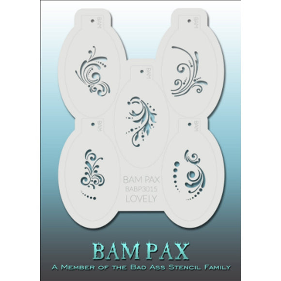 BAM PAX Stencil Sheet - BABP3015 - Lovely contains 5 related stencil designs with beautiful swirls, curves, dots, tiny leaves etc. Designs in this sheet are great for birthday parties and other events. They are perfect for creating a variety of body and face painting designs quickly and easily. Each stencil is approximately 5