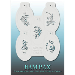 "BAM PAX Stencil Sheet - BABP3015 - Lovely contains 5 related stencil designs with beautiful swirls, curves, dots, tiny leaves etc. Designs in this sheet are great for birthday parties and other events. They are perfect for creating a variety of body and face painting designs quickly and easily. Each stencil is approximately 5"" x 3"" in size. Each sheet comes with a metal chain. Stencils can be detached from the sheet and can be conveniently stored together using this chain.<br /><br />The Bad Ass line of ste"