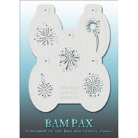 "BAM PAX Stencil Sheet - BABP3016 - Kaboom contains 5 related stencil designs in fireworks design theme. Designs in this sheet are great for birthday parties and other events. They are perfect for creating a variety of body and face painting designs quickly and easily. Each stencil is approximately 5"" x 3"" in size. Each sheet comes with a metal chain. Stencils can be detached from the sheet and can be conveniently stored together using this chain.<br /><br />The Bad Ass line of stencils, launched by famous b"