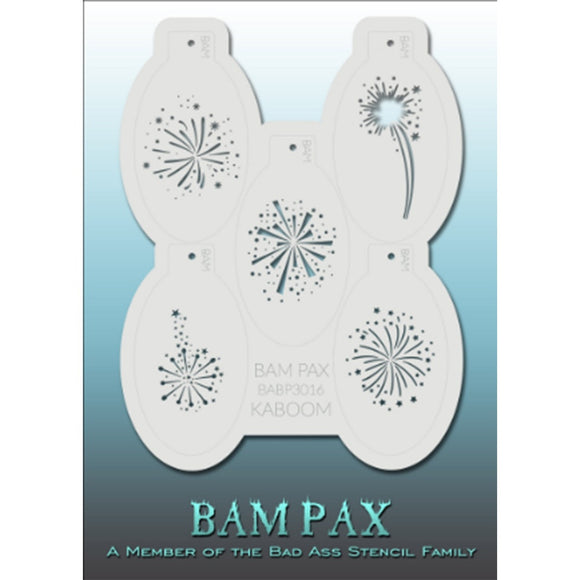 BAM PAX Stencil Sheet - BABP3016 - Kaboom contains 5 related stencil designs in fireworks design theme. Designs in this sheet are great for birthday parties and other events. They are perfect for creating a variety of body and face painting designs quickly and easily. Each stencil is approximately 5