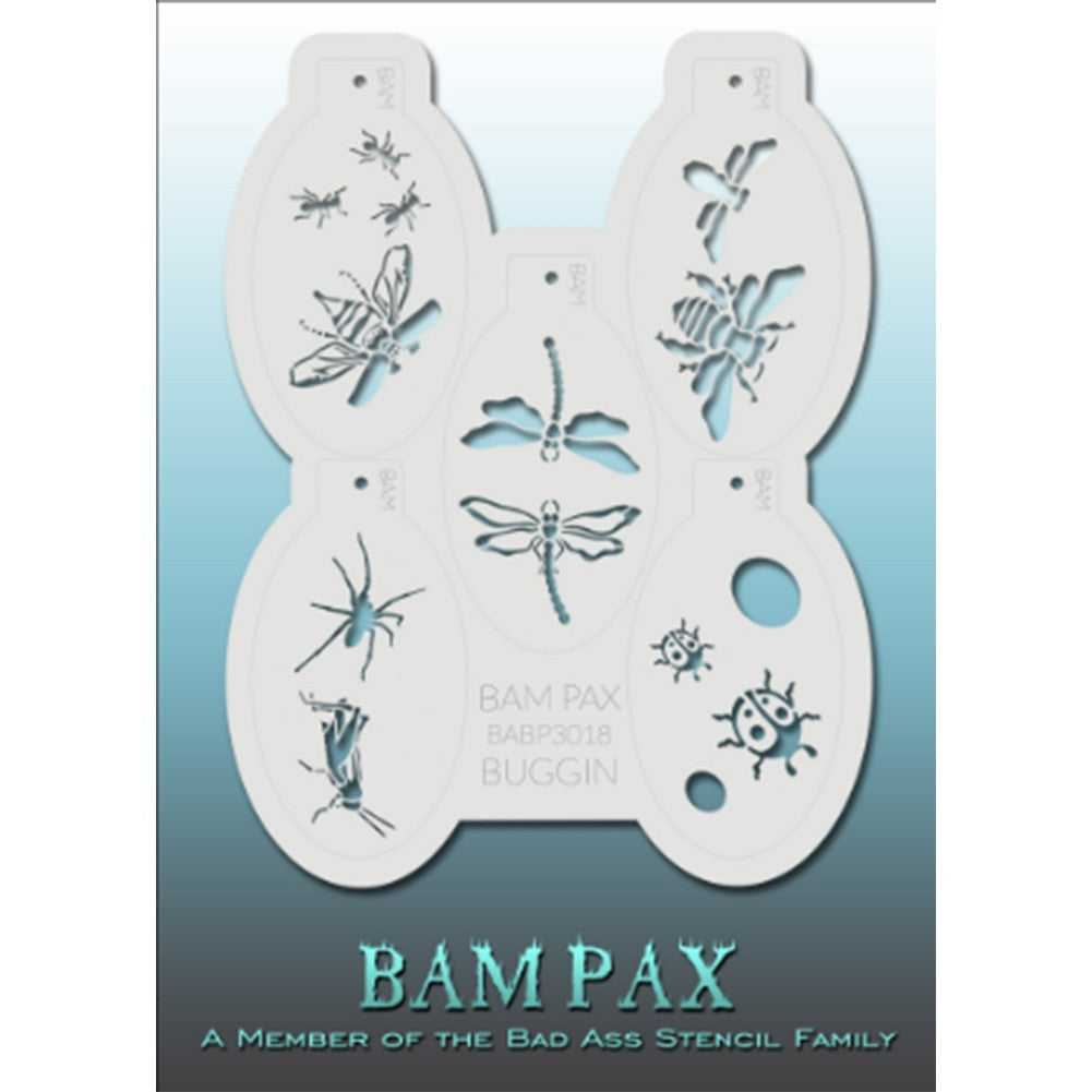 "BAM PAX Stencil Sheet - BABP3018 - Buggin contains 5 related stencil designs in bugs and critters design theme. Designs in this sheet are great for birthday parties and other events. They are perfect for creating a variety of body and face painting designs quickly and easily. Each stencil is approximately 5"" x 3"" in size. Each sheet comes with a metal chain. Stencils can be detached from the sheet and can be conveniently stored together using this chain.<br /><br />The Bad Ass line of stencils, launched by"