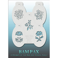 "BAM PAX Stencil Sheet - BABP3019 - Best Buds contains 5 related stencil designs in flowers and buds design theme. Designs in this sheet are great for birthday parties and other events. They are perfect for creating a variety of body and face painting designs quickly and easily. Each stencil is approximately 5"" x 3"" in size. Each sheet comes with a metal chain. Stencils can be detached from the sheet and can be conveniently stored together using this chain.<br /><br />The Bad Ass line of stencils, launched b"